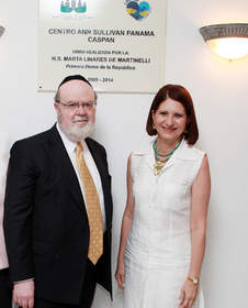 Dr. Joshua Weinstein, Founder & CEO of ICare4Autism and Mrs. Marta Linares de Martinelli, the First