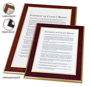 New York Statement of Client Rights Plaque