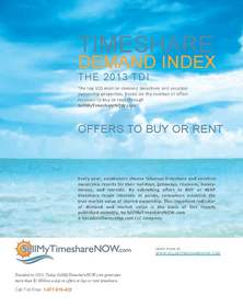 2013 Timeshare Demand Index (TDI) from SellMyTimeshareNOW.com