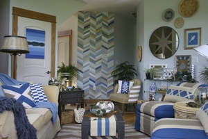 Penny Miller's living room transformation won $5,000 from FrogTape brand painter's tape's 2013 Earn Your Stripes room makeover contest.