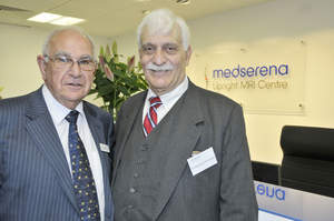 Professor Francis W. Smith, M.D. (left) with Raymond V. Damadian, M.D. (right)