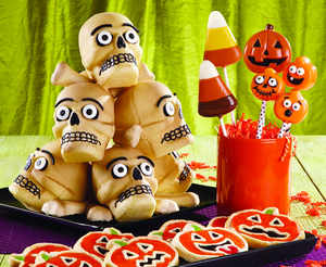 Tower of Horror Treats, Jolly Jack-o-Lantern Cookies, Happily Haunted Lollipops, Spirited Pumpkin Cake Pops