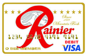 O Bee Credit Union's newest debit card features the original Rainier Beer logo