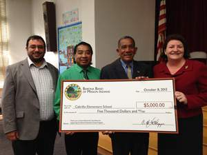 Barona Tribal Chairman Clifford LaChappa presents a $5,000 Barona Education Grant to Cabrillo Elementary School in Point Loma.