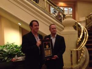 Findly founder and CTO Jason Kerr (left) and CEO Jeff Russakow (right), accept Top HR Product of 2013 Award.