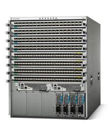 The Cisco Nexus 9508 Switch is an 8 slot compact 13 RU form factor chassis designed for high density End-of-Row and high performance 10/40GbE aggregation layer deployments.