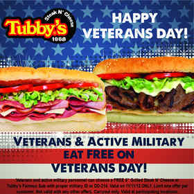 Tubby's Veterans Day Offer