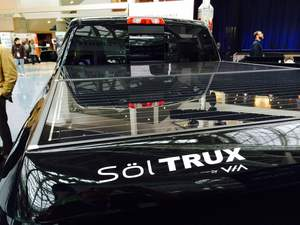 VIA,solar,EV,solar panel,electric vehicle,LA Auto Show,TEsla,Volt,Silverado,GM,alt fuel,erev