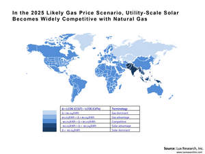 In the 2025 Likely Gas Price Scenario, Utility-Scale Solar Becomes Widely Competitive with Natural Gas