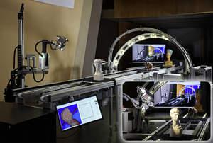Bild: Fraunhofer-Forscher präsentieren ein mobiles Labor, das Kulturgüter im Akkord dreidimensional scannt und digitalisiert. Das CultLab3D ermöglicht, die Millionen vorhandenen Museumsexponate industriell, kostengünstig und schnell zu scannen und zu archivieren. (Nutzungsrechte: Fraunhofer IGD)