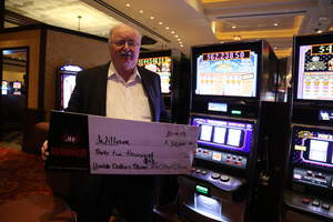 William, from El Dorado Hills, Calif., celebrates three jackpot wins at Red Hawk Casino for a total of over $50,000!