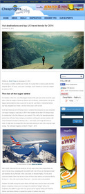 Cheapflights.com Hot Destinations and Top US Travel Trends for 2014, Travel Predictions, Forecast