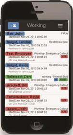The ARCOS Mobile app includes a screen for tracking the real-time status of utility workers.