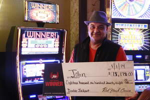 John rings in the New Year at Red Hawk Casino in Placerville, Calif., with an $18,178 jackpot.