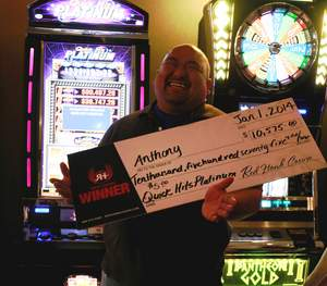 Anthony from Daly City, Calif., celebrates the New Year with a $10,575 jackpot at Red Hawk Casino.