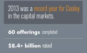 2013 was a record year for Cooley in the capital markets.
