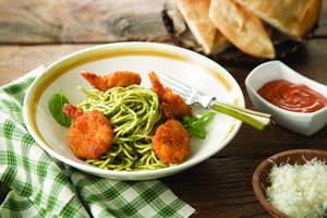 Parmesan Shrimp and Pesto Noodles
