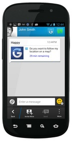 Glympse in the new Blackberry Messages