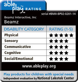 Beamz Interactive, Inc. awarded top rating for its Beamz product offering from Lekotek's AblePlay