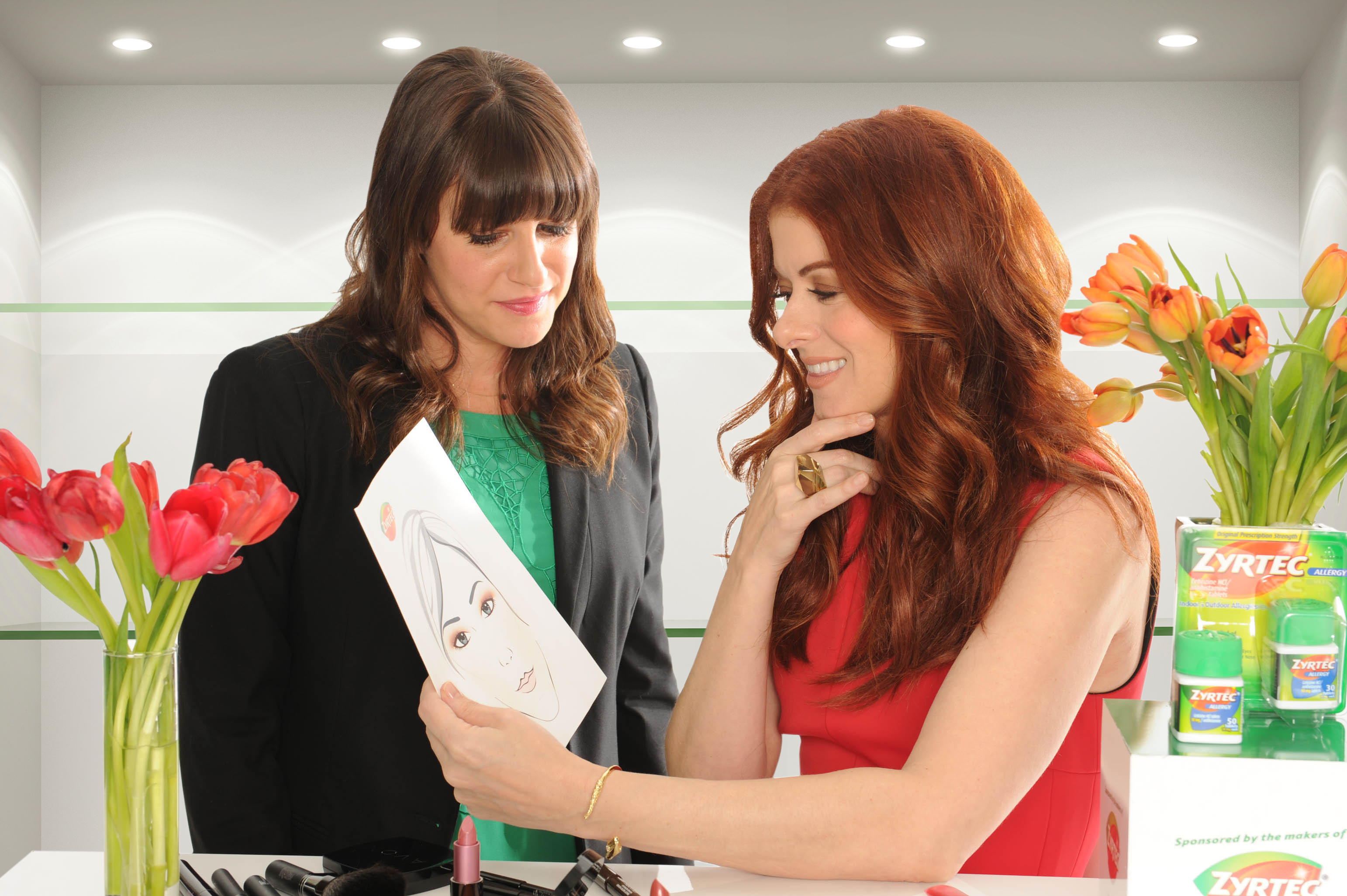 debra messing celebrity makeup artist jamie greenberg team up with the makers of zyrtec r to. Black Bedroom Furniture Sets. Home Design Ideas