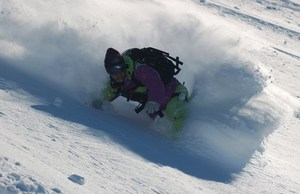 Sean Busby backcountry snowboarding in New Zealand.
