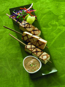 Party-Perfect Tofu Skewers with Soynut Satay Dipping Sauce