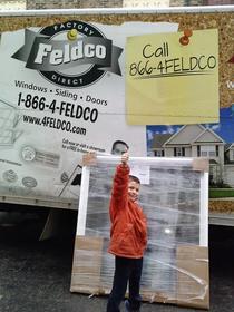 Luke Galik in front of Feldco truck