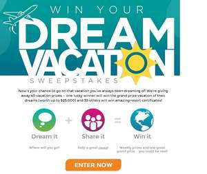 RCI Win Your Dream Vacation Sweepstakes - enter at RCI.com/sweeps