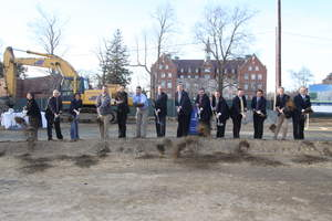 Windover Construction Breaks Ground at St. John's Prep: (from L to R) Madeline Le; Joe Marshall; Shannon Long; Dave Henderson; Ken Kovachs; John Merchant; Lee Dellicker; David W. Ives; Bernard L. Caniff; Edward P. Hardiman; Steven Cunningham; Stuart Meurer; David Crouteau; Keith A. Crowley