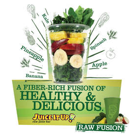 An industry-first in the raw juice bar segment, Juice It Up!'s Raw Fusion, prepared in a blender, fuses together fresh whole fruits and vegetables to retain 100 percent of the fiber and nutritional properties found in each ingredient. At only 190 calories for the 20 oz. serving, Raw Fusion boasts 7 grams of dietary fiber and is designed to satisfy hunger, sustain energy and support digestive health.