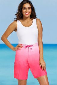 Coral Ombre Plus Size Long Women's Board Short