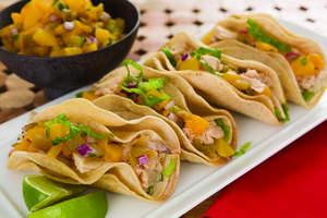 Chicken Tacos with Peach Salsa