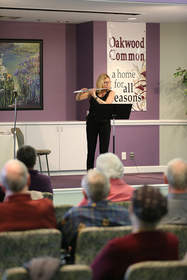 "Detroit Symphony Orchestra Flutist Sharon Sparrow delighted Oakwood Common guests with her personal insights and ""Inspiration Day"" performance."