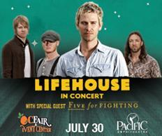 OC Fair Announces Performance by Lifehouse and Five For Fighting in the 2014 Toyota Summer Concert Series at the Pacific Amphitheatre