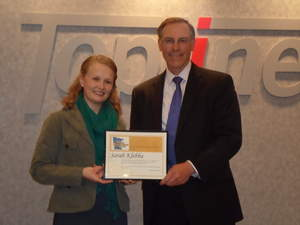 Sarah Klebba, scholarship recipient and Tom Smith, CEO, TopLine Federal Credit Union.