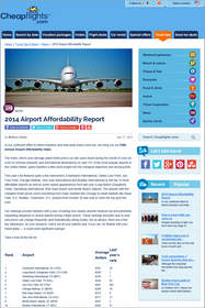 Cheapflights.com 5th Annual Airport Affordability Index