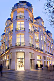 Zara store at Champs-Elysees in Paris, France.