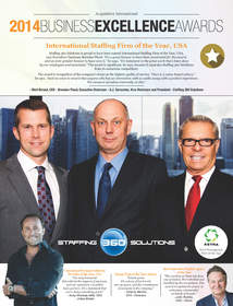 Staffing 360 Solutions Wins 2014 Business Excellence Awards from Acquisition International Magazine