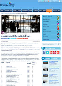 Cheapflights.ca 2014 Airport Affordability Index