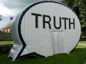 "The Truth Booth interactive art project houses a video recording studio where participants from around the world have given two minutes answers to ""The truth is..."""
