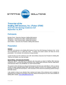 Staffing 360 Solutions Releases Transcript of Earnings Call