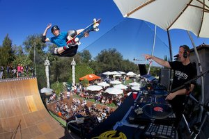 Tony Hawk and DJ Z-Trip perform atop Hawk's personal ramp  9/21/14 at Stand Up For Skateparks, the Tony Hawk Foundation's annual benefit in Beverly Hills. Photo by Jody Morris. Image Copyright (C) Tony Hawk Foundation 2014. For MEDIA use only.