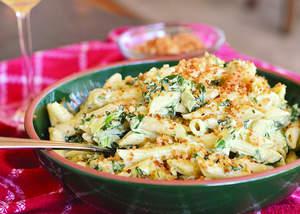 Creamy Spinach-Artichoke Penne with Garlic-Thyme Breadcrumbs