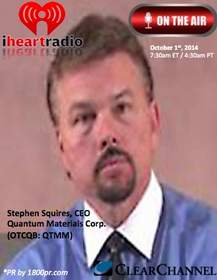 CEO Stephen Squires of Quantum Materials Corp. Public Relations and Marketing by 1800PublicRelations.com