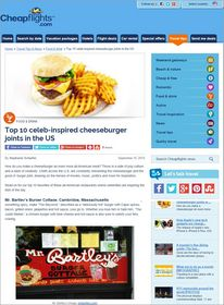Cheapflights.com Top 10 Celeb-Inspired Cheeseburger Joints US,National Cheeseburger Day September 18