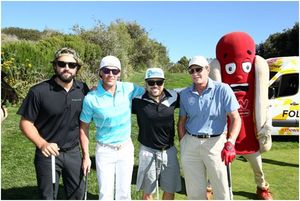 Left to right: Brody Jenner, Todd Bowman, Travis Clarke, Bruce Jenner and the Wienerschnitzel Weiner getting background props