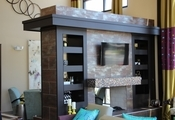 Modern fireplace at Alta Alameda Station in Denver
