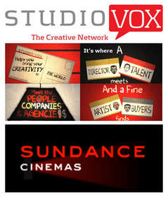 StudioVox logo and screenshot, and Sundance Cinemas Galleries logo
