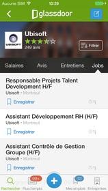 Ubisoft jobs on Glassdoor's French iOS app