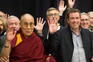 His Holiness the Dalai Lama with lululemon athletica CEO Laurent Potdevin who earlier today announced a partnership with the Dalai Lama Center in Vancouver to foster Heart-Mind education and mindfulness for future generations.